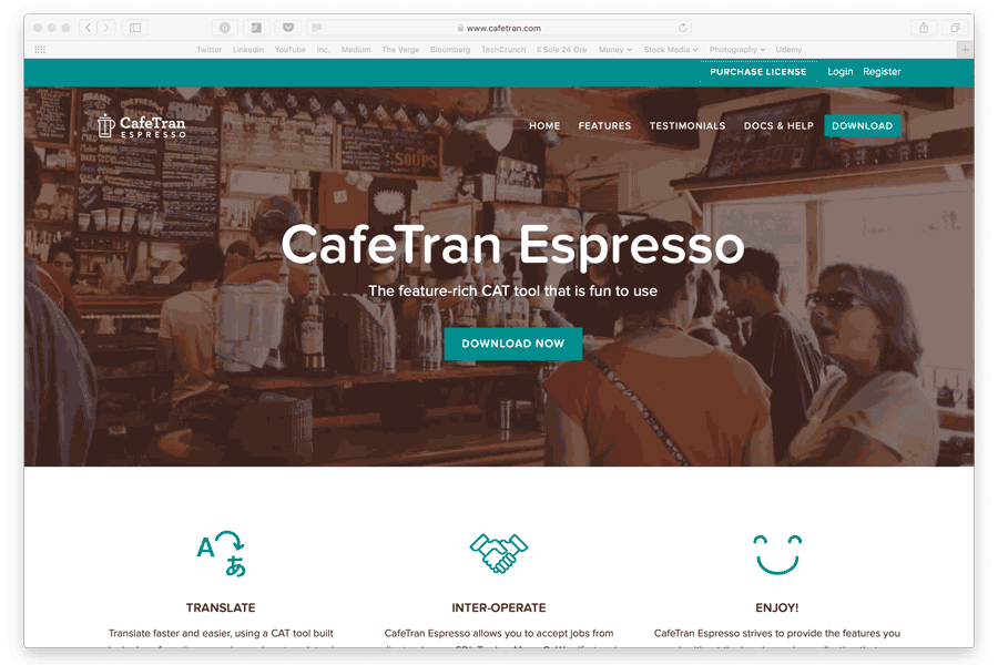 screenshot of cafetran cat tool home page